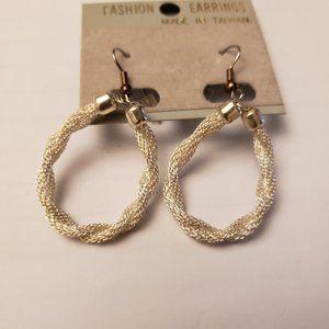 Dazzling silver tone twisted metallic mesh earring